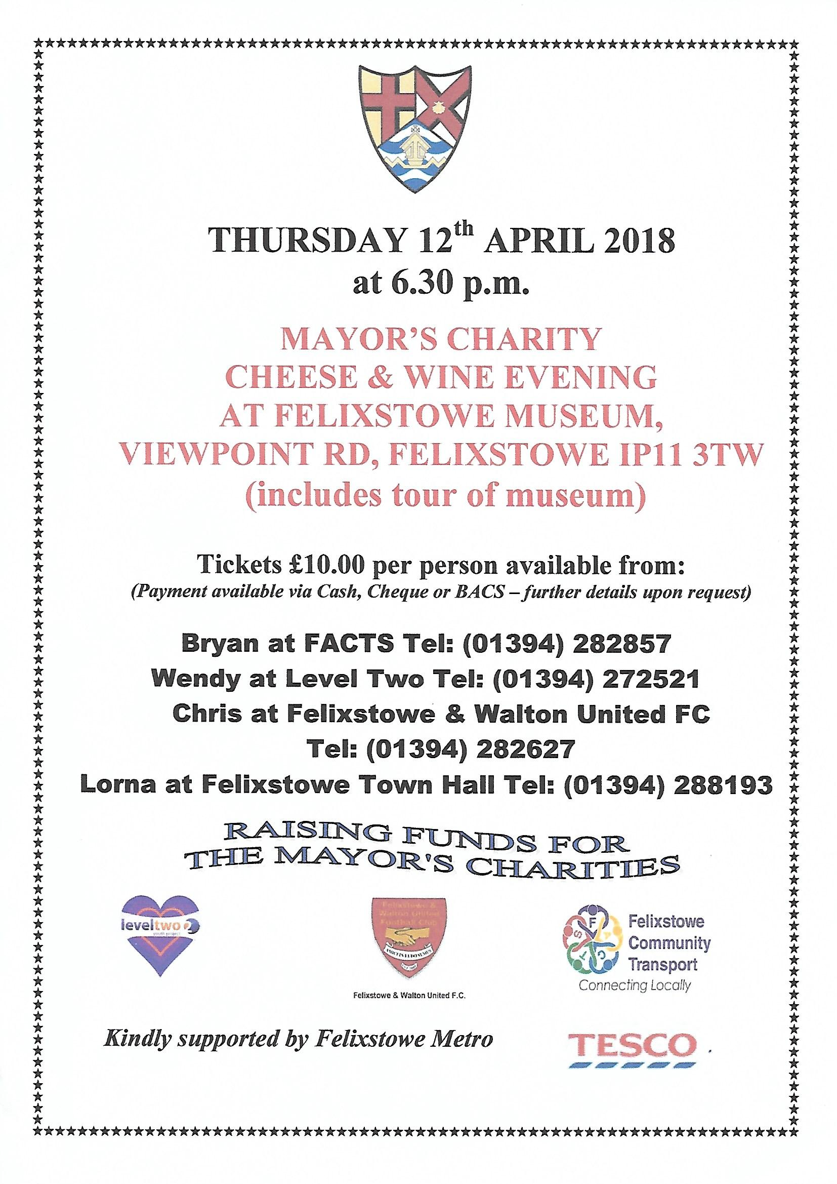 Mayor's Cheese and Wine Evening at Felixstowe Museum, Tuesday 12 April 2018
