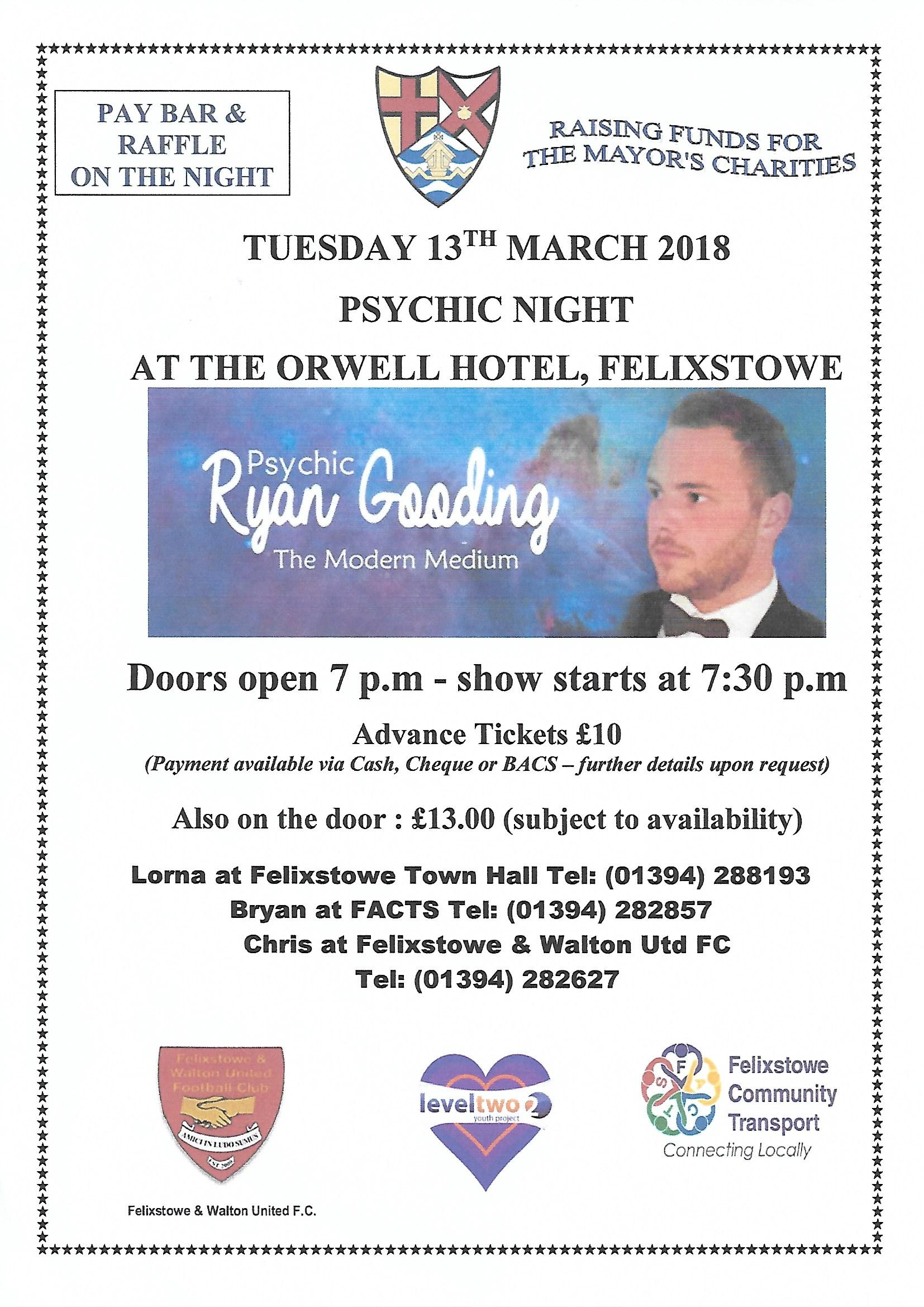 Psychic Night, Tuesday 13 March 2018